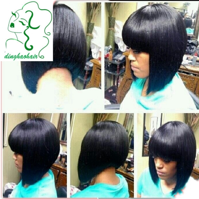 African American Bob Wigs Brazilian Full Lace Wig Human Hair Front With Bangs