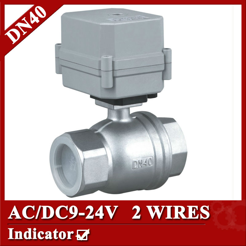 1 1/2'' SS304 full port  2 way motorized ball valve NPT/BSP, DN40 AC/DC9-24V electric valve with indicator and NO/NC function 1 2 ss304 electric ball valve 2 port 110v to 230v motorized valve 5 wires dn15 electric valve with position feedback