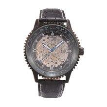 Orkina Роскошный Бренд мужской Часы Из Нержавеющей Стали Кожа Автоматические Механические Часы Мода Черный Бизнес Наручные Часы
