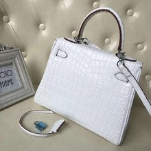 2019 new genuine cow leather embossed crocodile pattern lady shoulder bag 28cm length women cross body and  bag white color