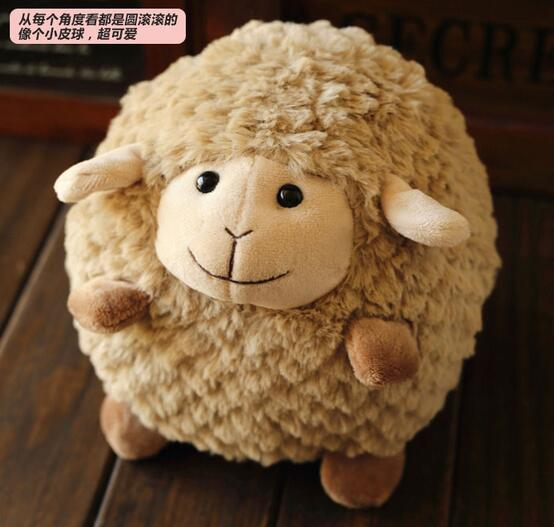 Candice guo! super cute plush toy soft brown sheep ball smiling lamb stuffed doll kids girls birthday Christmas gift 15cm 1pc 1pcs 35cm 5 colors cute stuffed plush toy toot sheep soft doll with scarf toys gift for girl free shipping