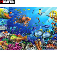 HOMFUN Full Square/Round Drill 5D DIY Diamond Painting Undersea scenery Embroidery Cross Stitch 5D Home Decor Gift A16381 homfun full square round drill 5d diy diamond painting moon scenery embroidery cross stitch 5d home decor gift