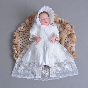 3pcs Set Baby Girls Christening Gown Ruffle White Dress+Lace Shawl+Hat Newborn Infant Princess Birthday Party Dress Gift 0-30M(China)