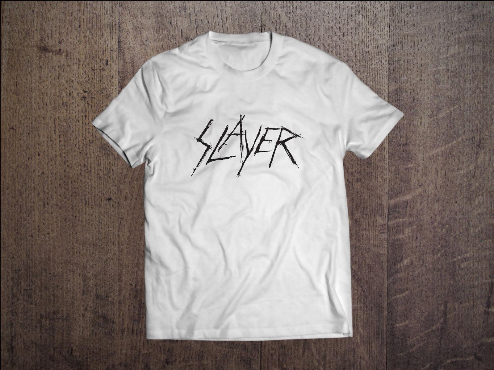 Slayer graphic men logo t shirt white rock band fan tee for Xxl band t shirts