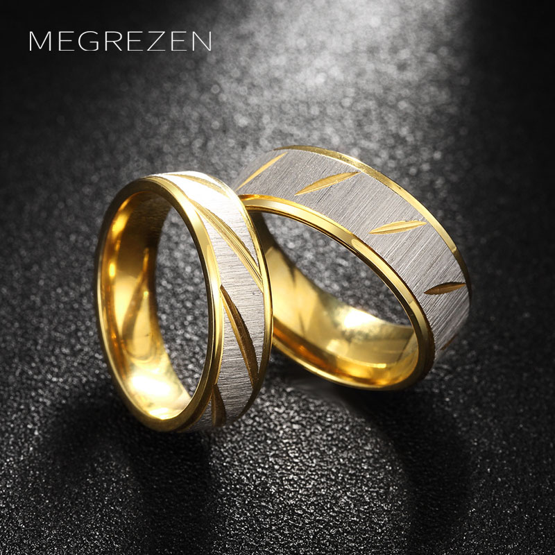 Fashion Stainless Steel Engagement Ring Set Men Women Gold Wedding Decorations Pair Of Rings For Couples TGR099-5