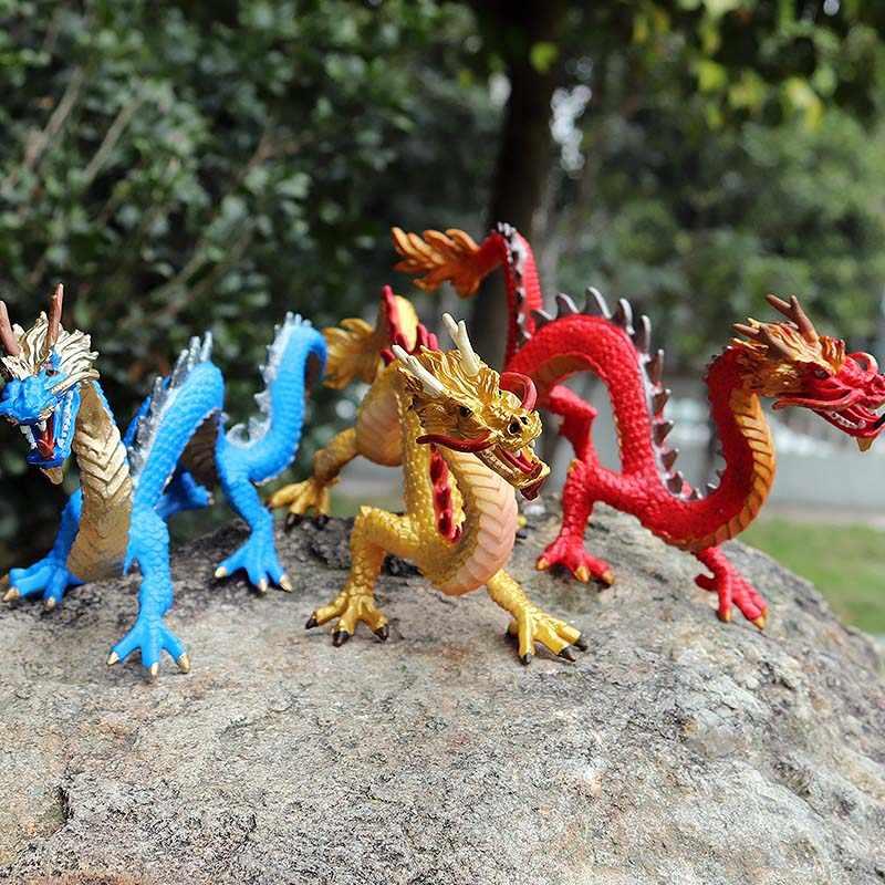 Oenux 24x8x11cm dragões chineses originais animais figuras de ação clássico dragões dourados pvc casa decoração coleção modelo brinquedos