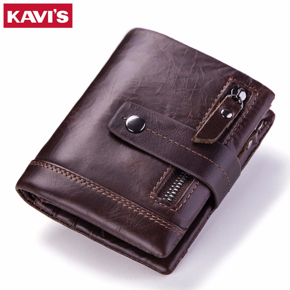 KAVIS Genuine Leather Men Wallet PORTFOLIO Male Purse Small Portomonee With Pockets Fashion Mini Walet Mens Money Bag For Coin