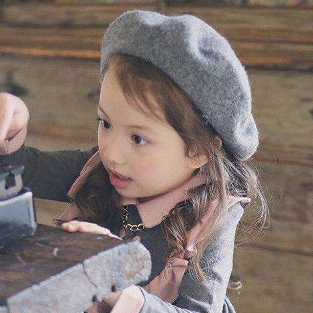 3d6c00a82b329 16 Colors Girl Winter Caps Children Pretty Wool Felt Beret Toddler  Accessories Hats Kid Warm Fashion Beret Caps Drop Shipping