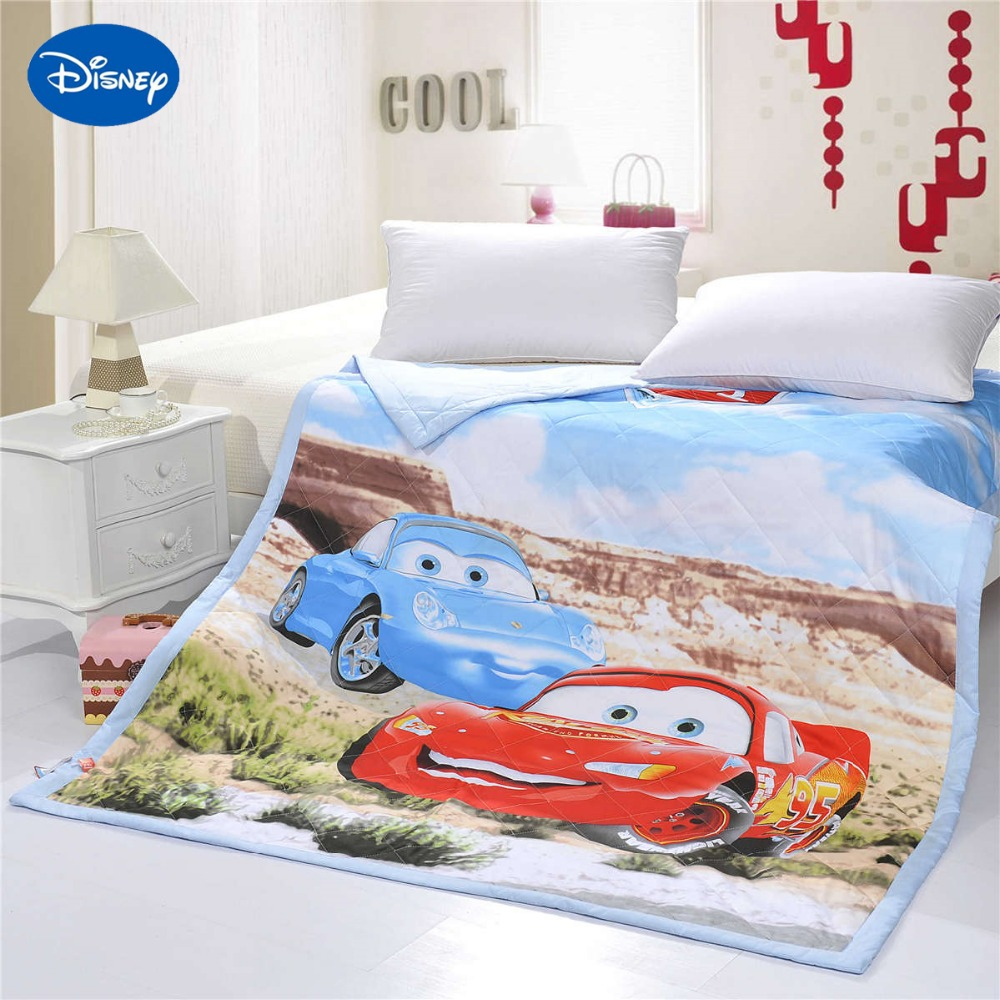 Cartoon Mcqueen Cars Quilts Comforters Single Twin Full Queen Size Bed Decor Cotton Fabric Woven Blue
