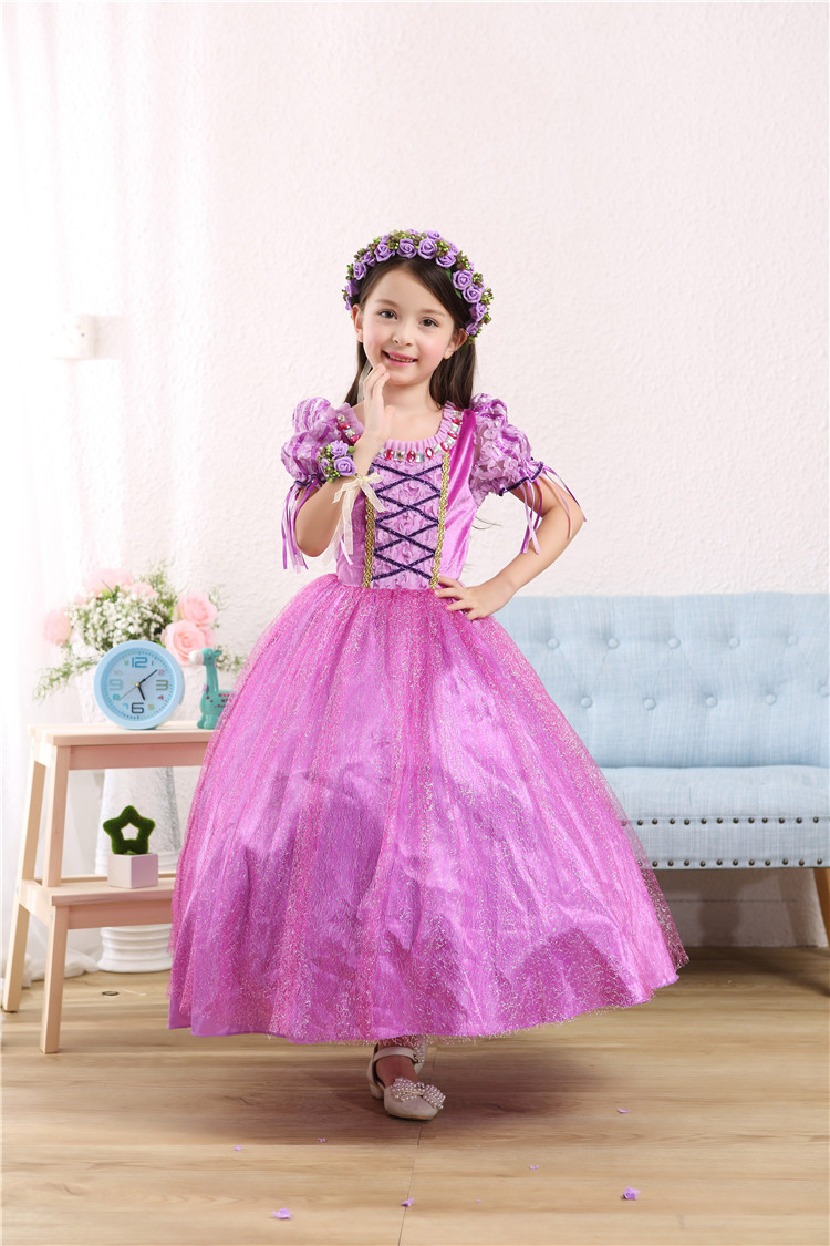 CaGiPlay girl Rapunzel Princess dress Kids Party Dress Halloween Christmas gift  Tangled Cosplay Costume Girl Clothes  Vestidos