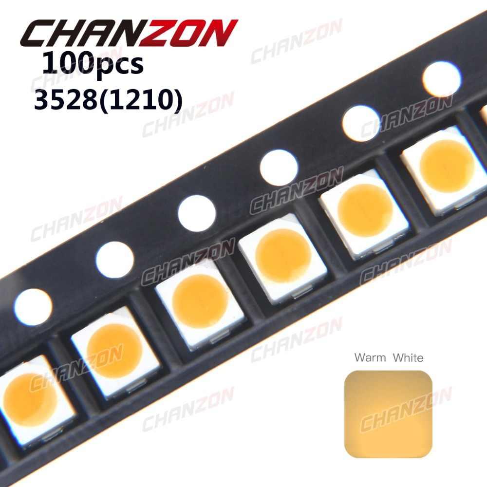 100 шт. SMD 3528 теплый белый светодиодный чип 7 8 ЛМ Ультра яркий 3000K 1210 20 мА DC 3 в