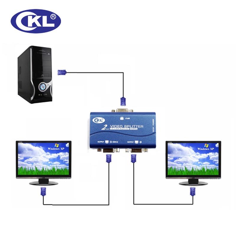 High-quality Converter CKL 2 Port VGA Splitter Adapte 450MHz 2048*1536 Supports DDC, DDC2, DDC2B USB Powered Plastic Case