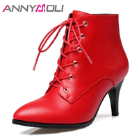 ANNYMOLI Women Boots Winter Ankle Boots Zipper High Heel Short Boots Lace Up Pointed Toe Square Heel Shoes Lady Red Big Size 43