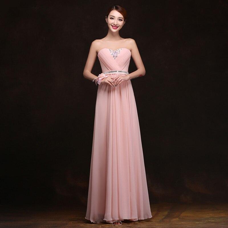 Katristsis d 2018 sweetheart Pink Long Chiffon Bridesmaid Dress ...