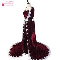 Elegante Vestidos de festa Borgonha Vestidos de Noite Árabe Kaftan Abaya Peru Vestidos manga Comprida com Envoltório ZD001