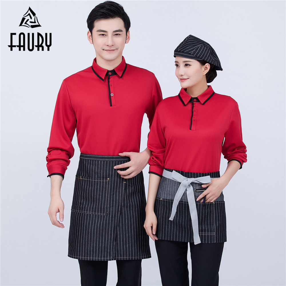 Unisex Long-sleeved Splicing Color Turn-down Collar Breathable Mesh Work Shirts With Cuffs Catering Food Service Waiter Uniforms