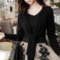 Original 2018 Brand Spring New Korean Asymmetrical Hem Short Knitted Cardigan Women Wholesale