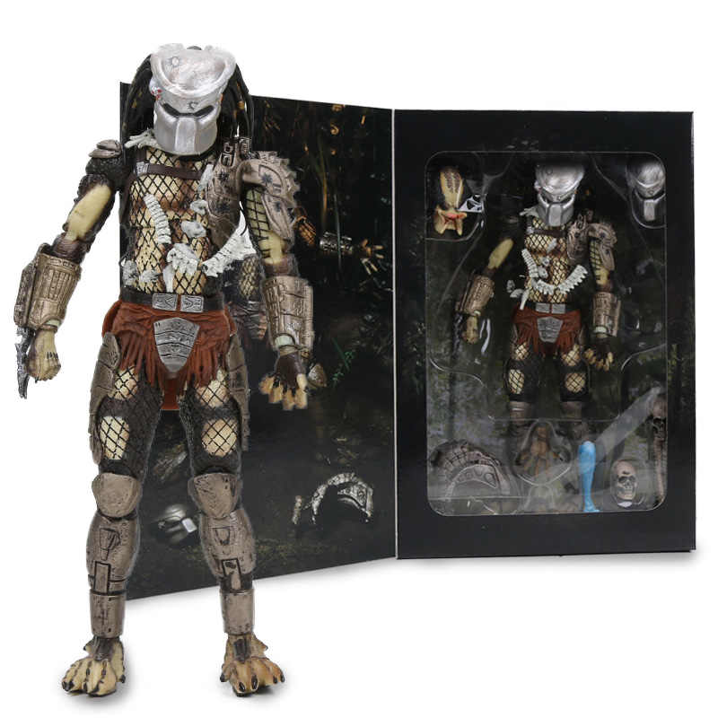 "7.8 ""Neca Predator Utama 30th Anniversary Hutan Pemburu PVC Action Figure Hutan Pemburu Unmasked Collectible Model Boneka Mainan"