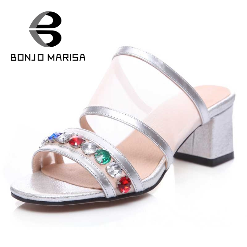 BONJOMARISA Summer Women Beaded Shoes Square High Heels Open Toe Less Platform Sandals Woman Slip On Creepers Beach Shoes phyanic 2017 gladiator sandals gold silver shoes woman summer platform wedges glitters creepers casual women shoes phy3323