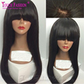 8A Peruvian Virgin Hair Glueless Silky Straight Full Lace Wigs With Bangs for Black Women Fringe Human Hair Wigs Bleached Knots