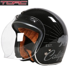 Free shipping 1pcs TORC 3/4 Open Face Motorcycle Scooter Helmet DOT Racer Vintag