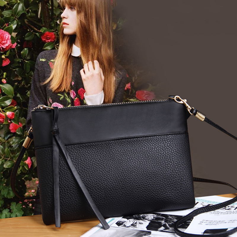 Ladies Zipper Hand Bags PU Leather Small Black Handbags For Women Fashion Tassle Flap Bags Female Envelope Shoulder Bag