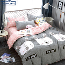 цена 100% cotton 4pcs Cartoon Rabbit Queen Beddingset 4pcs Duvet Quilt Cover Sheet  Pillowcases  Pillow Cover в интернет-магазинах