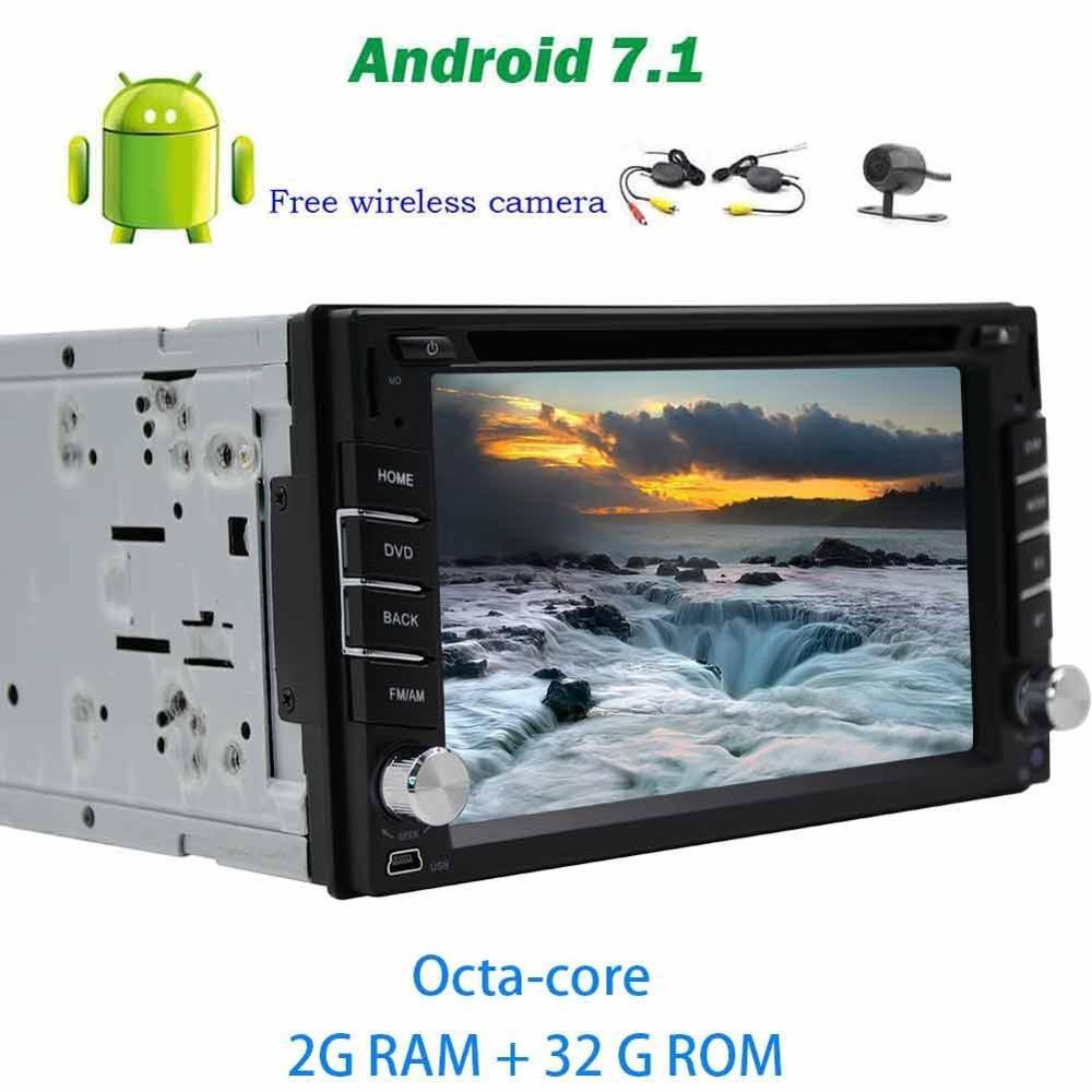 Беспроводной камера + Android 7.1 бортовой компьютер авто Радио стерео dvd плеер GPS навигатор 2din головного устройства Поддержка Bluetooth WI FI 4 г