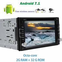 Wireless camera+Android 7.1 trip computer Auto Car Radio Stereo DVD player GPS Navigator 2Din HeadUnit Support Bluetooth WIFI 4G