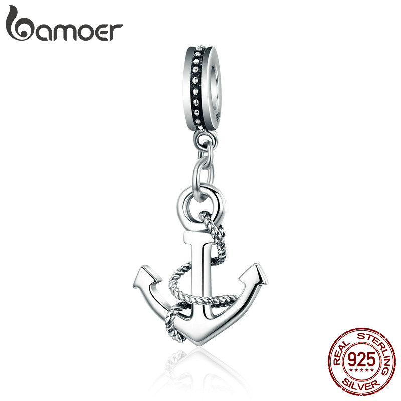 BAMOER Genuine 100% 925 Sterling Silver Popular Rope & Anchor Pendant Charm fit Women Bracelet & Necklaces DIY Jewelry SCC538BAMOER Genuine 100% 925 Sterling Silver Popular Rope & Anchor Pendant Charm fit Women Bracelet & Necklaces DIY Jewelry SCC538