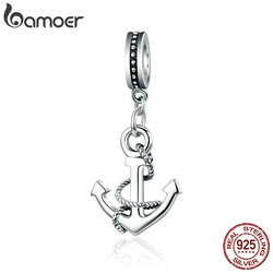 BAMOER Genuine 100% 925 Sterling Silver Popular Rope & Anchor Pendant Charm fit Women Bracelet & Necklaces DIY Jewelry SCC538