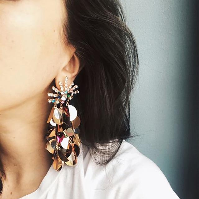 2019 Statement Earring Fringed Earrings Brincos Rhinestone Long Chain Crystal Dr