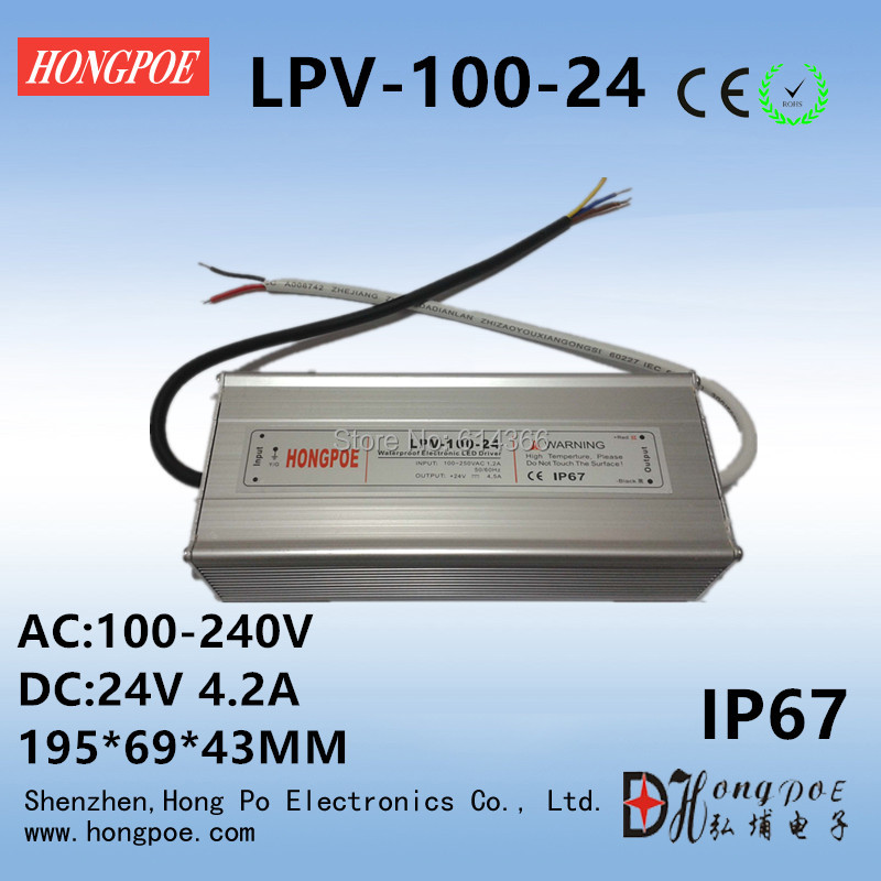 1pcs IP67 AC-DC LED Driver 100W 24V power supply 100W 24V 4.2A LED Strip light Outdoor LED Power Supply LPV-100-24 s 150 24 ac dc 220 24v dc power suply led smps ce rohs approval led driver strip light switch power supply 24v 6 25a 150w