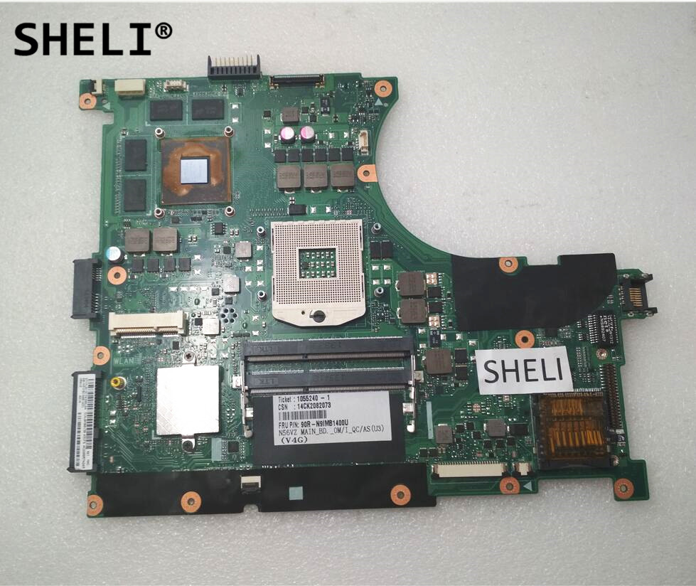 SHELI For N56VZ N56VM Motherboard with GT650M 4GB Video Memory n56vm rev 2 3 laptop motherboard suitable for asus n56vm n56vj n56vz gt630m hm76 system motherboard original new