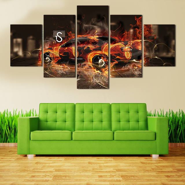 2016 wall art picture 5 panel cool sports car large hd canvas print painting for living