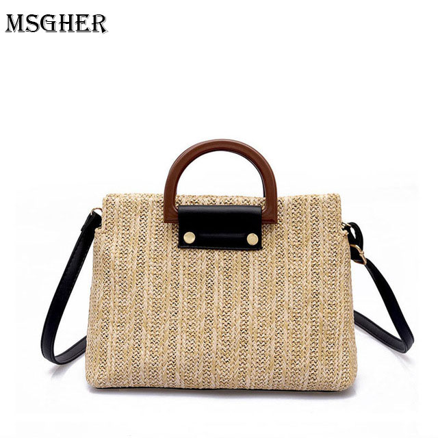 M.S Wool Handle Woven Large Womens Handbags Knitting Patchwork Summer Casual Totes Bags Satchels Solid Straw Shoulder Bag SW050