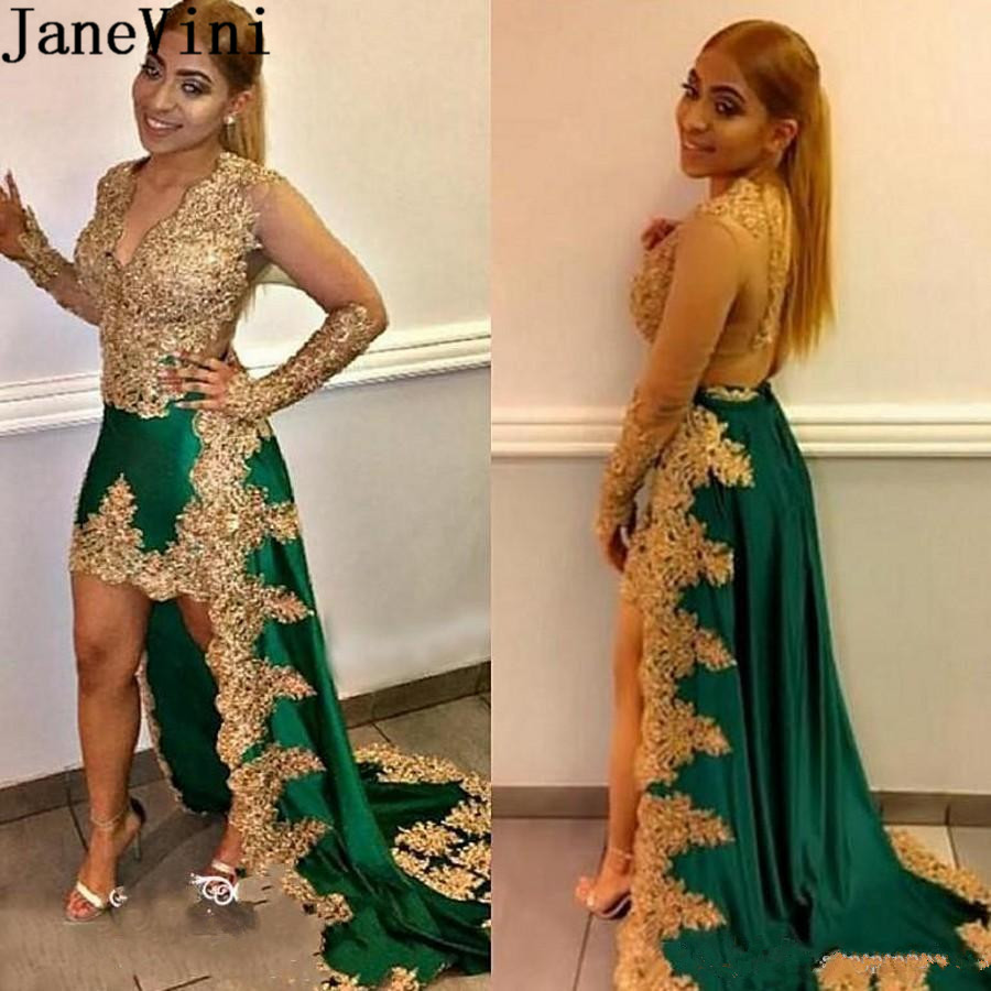 JaneVini Arabic Gold Appliques Prom Dresses Beaded High Low Green Bridesmaids Dresses Sheer Long Sleeve South