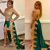 JaneVini арабские золотые Выпускные платья с аппликацией бисер высокий низкий зеленый платья подружек невесты отвесные вечерние платья с длин