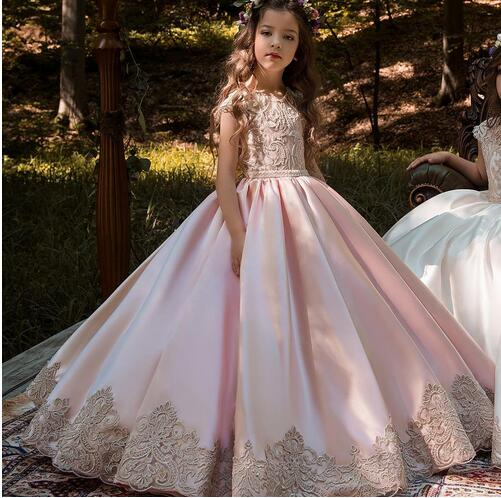 Flower     Girls     Dresses   High Quality Lace Appliques Beading Ball Gowns Floor Length Pageant Gown for   Girls   First Communion   Dresses