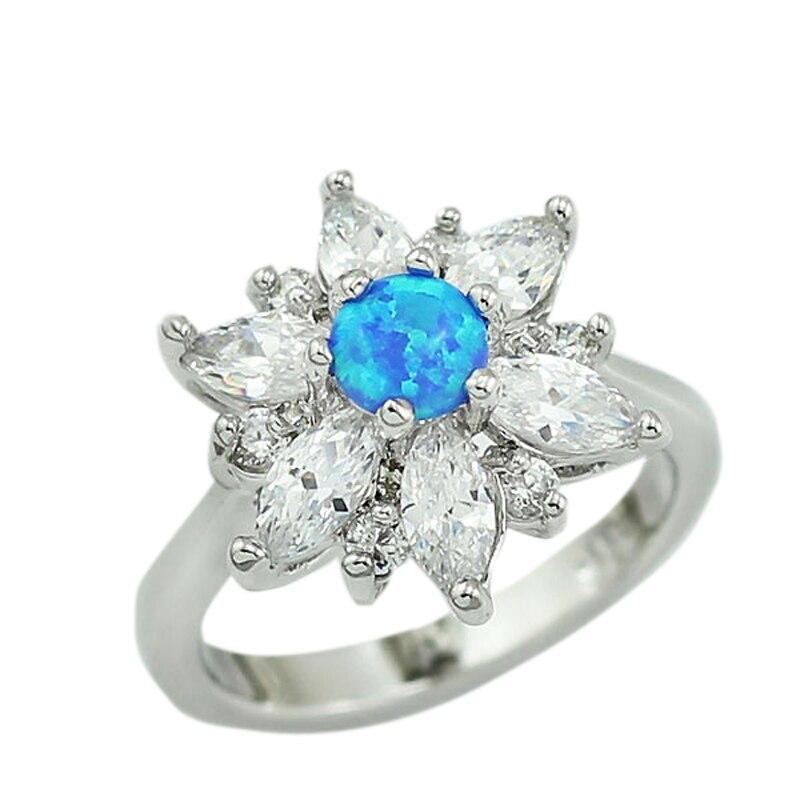 AnpassungsfäHig Haimis Schöne Erstellt Blau Feuer Opal Cz Frauen Mode Schmuck Opal Ring 1b