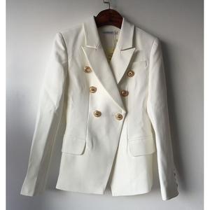 Image 3 - TOP QUALITY New Fashion 2020 Designer Blazer Jacket Womens Double Breasted Metal Lion Buttons Blazer Outer size S XXXL