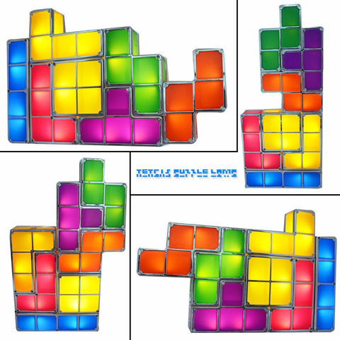 diy tetris quebra cabeca luz empilhavel led lampada