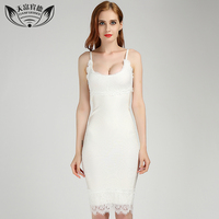 Fashion Women Summer Strapless Lace Dress White Color U-Neck Sling Zipper Design Knee Length Sexy Ladies Bandage Dresses
