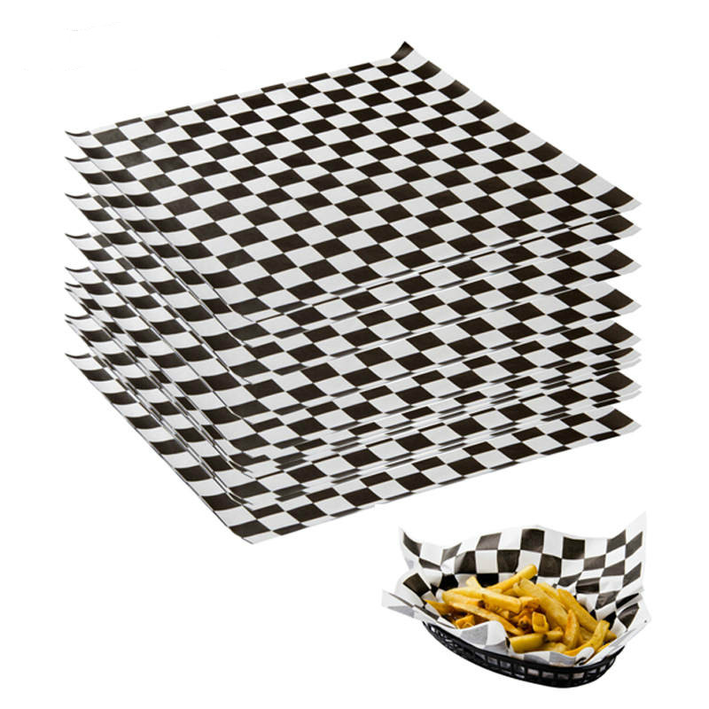 500pcs Wax Paper Bread Printed Food Grade Black Checkered Baking Oil Grease Paper Sandwich Burger Fries