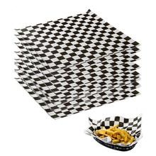 500 шт восковой бумаги хлеба с узорами, для хранения пищевых продуктов черное клетчатое масло для выпечки Промасленная бумага сэндвич бургер фри обертывание кухня Restaruant