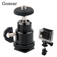 Gosear Rotatiing Hot Shoe Ball Head Bracket Adapter Screw Clamp Holder for Gopro Go Pro Hero 5 4 3 2 Xiaomi Yi 2 4K 4 K SJ4000