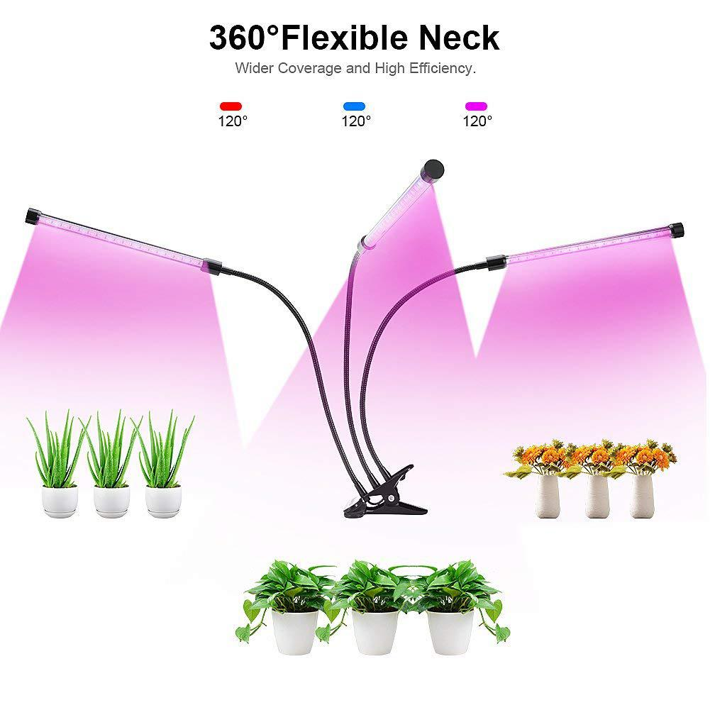 LED 5V 27W USB Grow Light Bulb With Red Blue Spectrum Adjustable 3-Head Timer Plant Grow Lamp For Indoor Plants