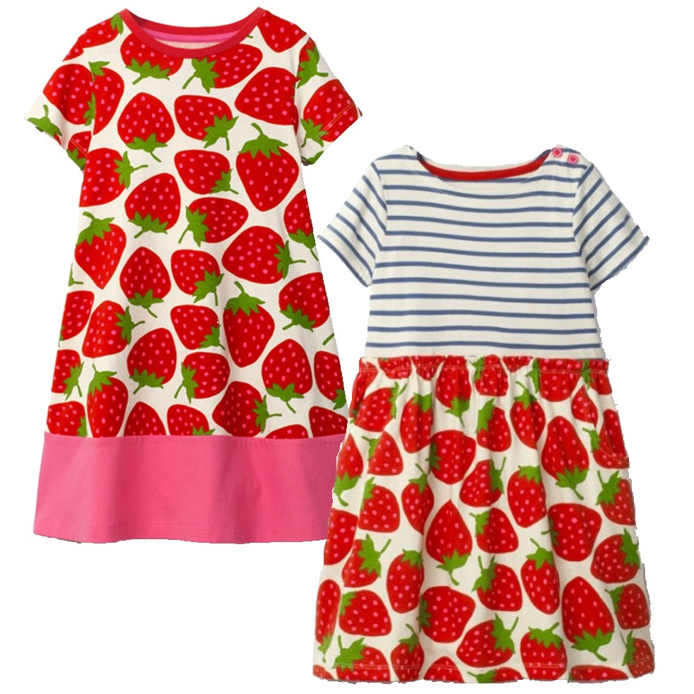 Strawberry Baby Girl's Dress 2 3 4 <font><b>5</b></font> 6 Years Children Clothes Girls Jumper Shirts 100% Cotton Kids Blouses Vestidos Outfit Tops image