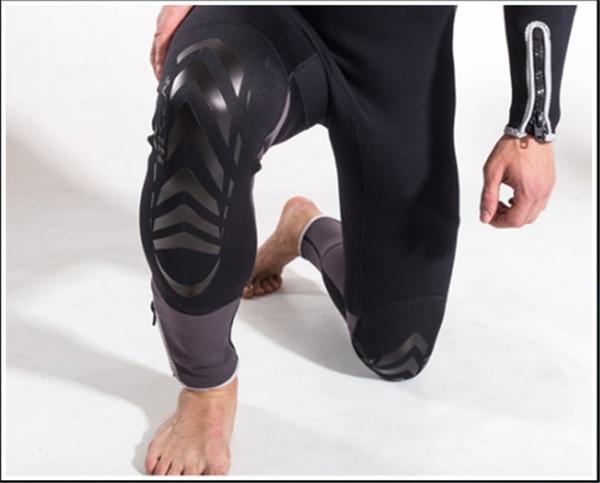 Hisea 1.5mm neoprene mens surf wetsuit one-piece diving suit long-sleeve swimwear black gray contrast- collar005