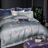 Grey Purple Egyptian Cotton Oriental Embroidery Luxury Bedding set Queen King size Bed set Quilt/Duvet cover Bedsheet set